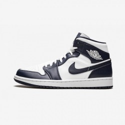 "Air Jordan 1 Mid ""Obsidian"" 554724 174 Navy White/Metallic Gold-Obsidian Basketball Shoes"