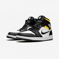 "Air Jordan 1 Mid ""Quai 54"" CJ9219 001 Black Black/Black-White/Multicolor Basketball Shoes"