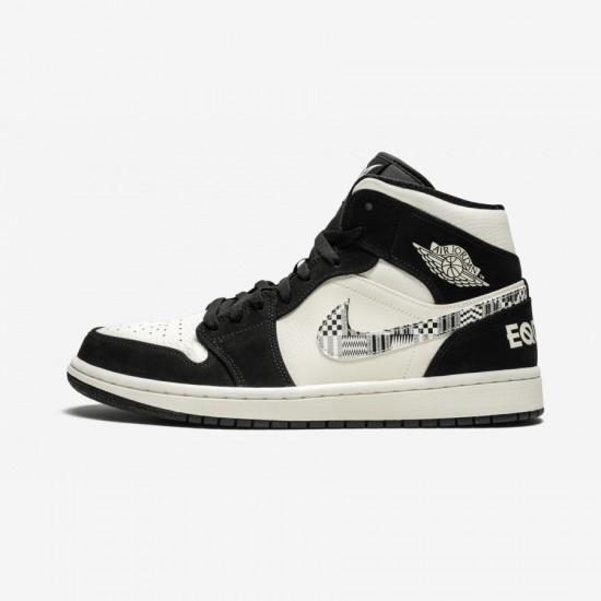 "Air Jordan 1 Mid SE ""Black History Month"" 852542 010 Black Black/Black-Sail-Wolf Grey Basketball Shoes"