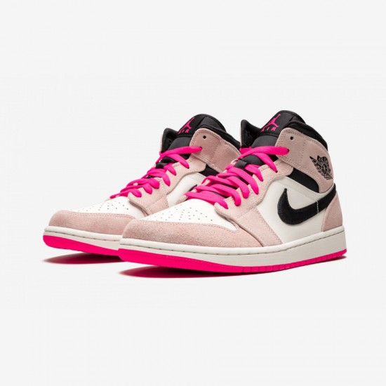 "Air Jordan 1 MID SE ""Crimson Tint/Hyper Pink"" 852542 801 Pink Crimson Tint/Hyper Pink-Black Basketball Shoes"