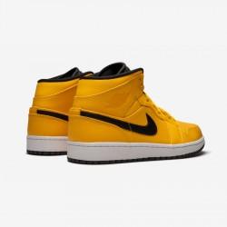 "Air Jordan 1 Mid ""Taxi Yellow"" 554724 700 Black University Gold/Black-White Basketball Shoes"