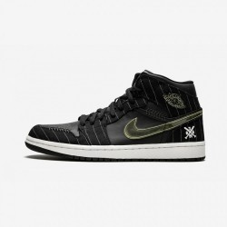 """Air Jordan 1 """"Opening Day"""" 325514 012 Black Leather And Nubuck And Patent Leather Black/White-Silver-Drk Chrcl Basketball Shoes"""