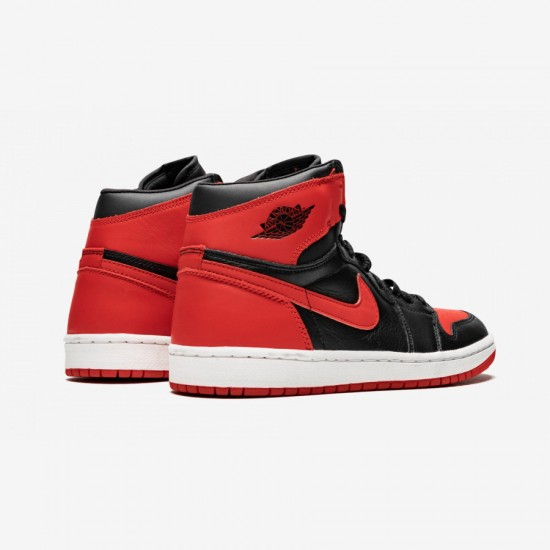 "Air Jordan 1 Retro ""BRED 01'"" 136066 061 Black Leather Black/Varsity Red Basketball Shoes"