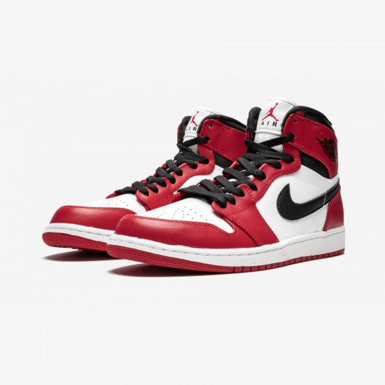 "Air Jordan 1 Retro High ""Chicago"" 332550 163 Red Leather White/Varsity Red-Black Basketball Shoes"