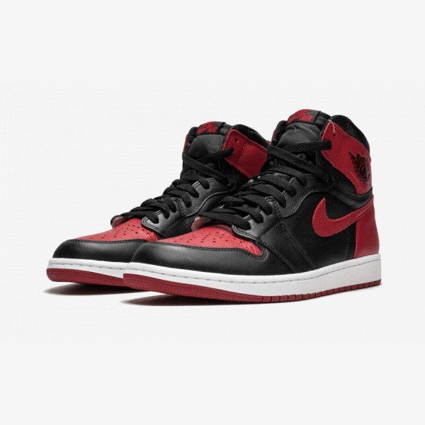 "Air Jordan 1 Retro High OG ""Banned / Bred"" 555088 001 Black Leather Black/Varsity Red-White Basketball Shoes"