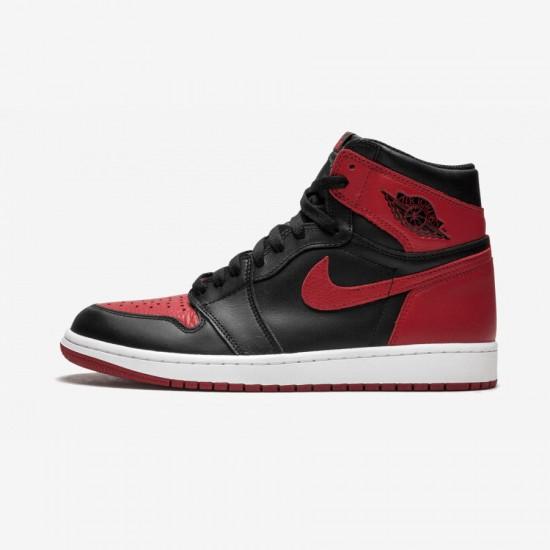 """Air Jordan 1 Retro High OG """"Banned / Bred"""" 555088 001 Black Leather Black/Varsity Red-White Basketball Shoes"""