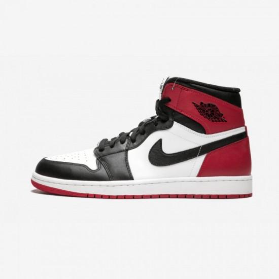 "Air Jordan 1 Retro High OG ""Black Toe"" 555088 184 Black Leather White/Black-Gym Red Basketball Shoes"