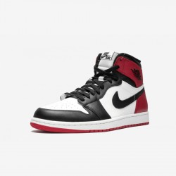 "Air Jordan 1 Retro High OG ""Black Toe"" 555088 184 Black Leather White/Black-Gym Red Basketball Shoes"