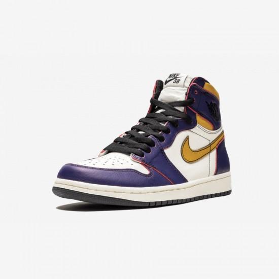 "Air Jordan 1 Retro High OG ""LA to Chicago"" CD6578 507 Viola Purple/Sail-University Gold-Bl Basketball Shoes"