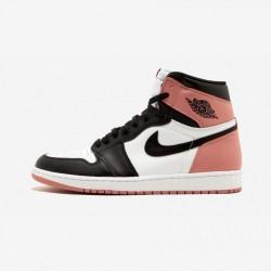 "Air Jordan 1 Retro High OG NRG ""Rust Pink"" 861428 101 Black Leather White/Black-Rust Pink Basketball Shoes"