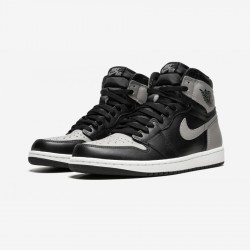 "Air Jordan 1 Retro High OG ""Shadow"" 555088 013 Black Leather And Rubber Black/Medium-Grey White Basketball Shoes"