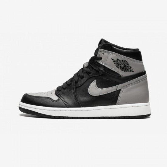 "Air Jordan 1 Retro High OG ""Shadow"" 555088 013 Black Leather And Rubber Black/Medium-Grey White Basketball Shoes"