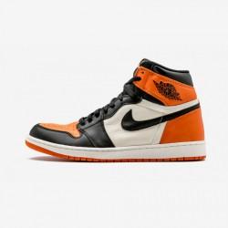 "Air Jordan 1 Retro High OG ""Shattered Backboard"" 555088 005 Black Leather Black/Starfish-Sail Basketball Shoes"