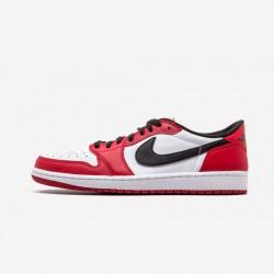"Air Jordan 1 Retro Low OG ""Chicago"" 705329 600 Red Leather Varsity Red/Black-White Basketball Shoes"
