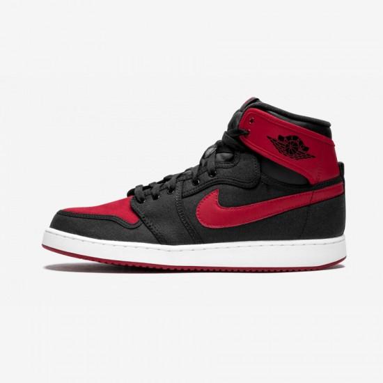 Jordan AJ1 KO High OG 638471 001 Black Canvas And Rubber Black/Varsity Red-White Basketball Shoes