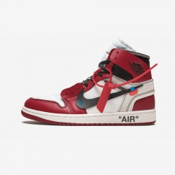 """The 10: Air Jordan 1 """"OFF WHITE"""" AA3834 101 Black Leather White/Black-Varsity Red Basketball Shoes"""