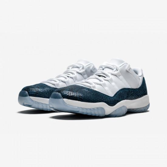 """Air Jordan 11 Low Retro """"Bluee Snakeskin"""" CD6846 102 White White/Black/Navy Basketball Shoes"""