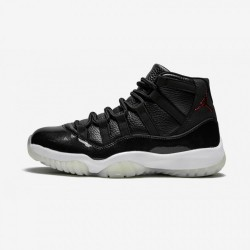 "Air Jordan 11 Retro ""72-10"" 378037 002 Black Leather And Patent Leather Black/Gym Red-White-Anthracite Basketball Shoes"