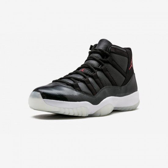 """Air Jordan 11 Retro """"72-10"""" 378037 002 Black Leather And Patent Leather Black/Gym Red-White-Anthracite Basketball Shoes"""