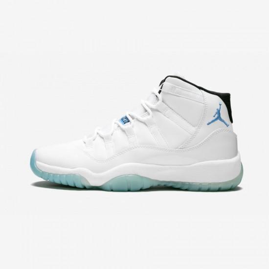 "Air Jordan 11 Retro BG ""Legend Blue"" 378038 117 Light Blue Patent Leather And Rubber White/Legend Blue Basketball Shoes"