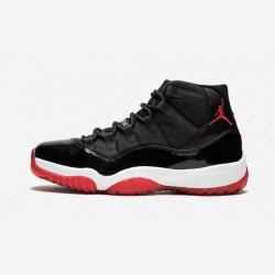 "Air Jordan 11 Retro ""Bred"" 378037 010 Black Patent Leather And Rubber Black/Varsity Red-White Basketball Shoes"