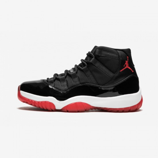"""Air Jordan 11 Retro """"Bred"""" 378037 010 Black Patent Leather And Rubber Black/Varsity Red-White Basketball Shoes"""
