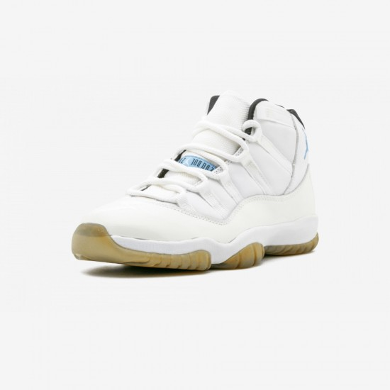 """Air Jordan 11 Retro """"Columbia"""" 136046 142 Blue Leather And Patent Leather And Synthetics White/Columbia Blue-Black Basketball Shoes"""