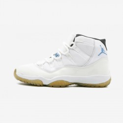 "Air Jordan 11 Retro ""Columbia"" 136046 142 Blue Leather And Patent Leather And Synthetics White/Columbia Blue-Black Basketball Shoes"