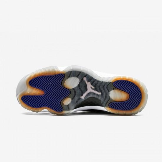 "Air Jordan 11 Retro ""Concord"" 378037 107 Black Patent Leather And Rubber White/Black-Dark Concord Basketball Shoes"
