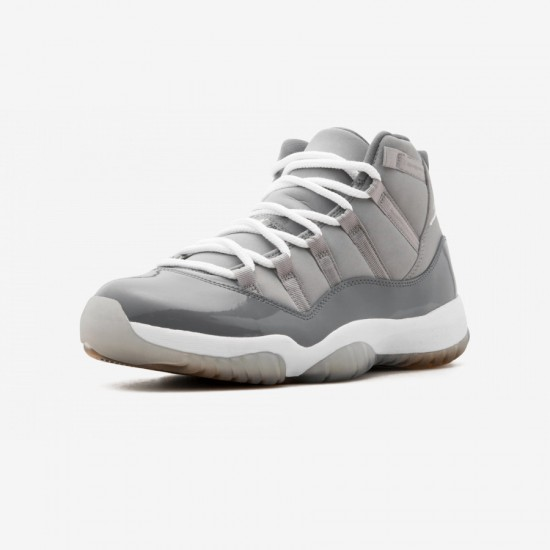 """Air Jordan 11 Retro """"Cool Grey"""" 378037 001 Grey Patent Leather And Rubber Medium Grey/White-Cool Grey Basketball Shoes"""