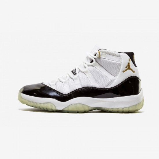 """Air Jordan 11 Retro+ """"Defining Moments"""" 136046 171 Black Leather And Patent Leather And Synthetics White/Metallic Gold-Black Basketball Shoes"""