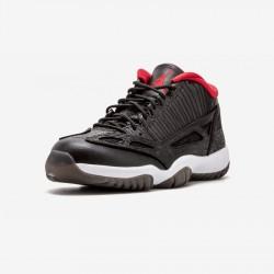 Air Jordan 11 Retro Low 306008 001 Black Leather Black/Varsity Red-White Basketball Shoes