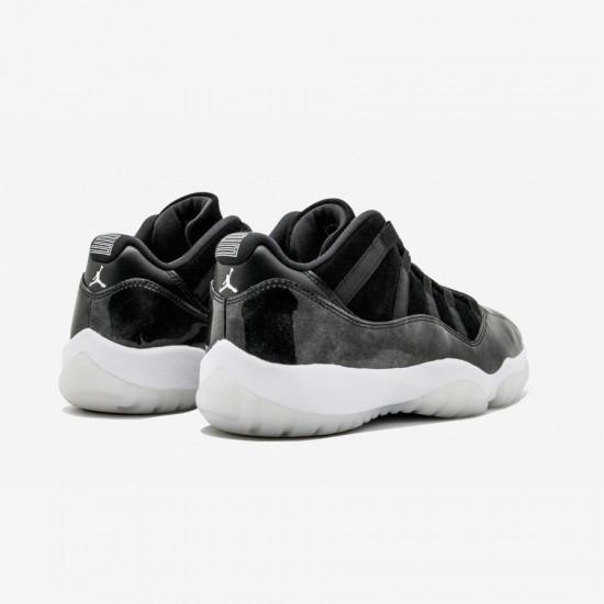"Air Jordan 11 Retro Low ""BARON"" 528895 010 Black Patent Leather And Rubber Black/White-Metallic Silver Basketball Shoes"
