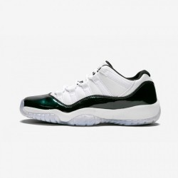 Air Jordan 11 Retro Low BG 528896 145 Green Patent Leather And Rubber White / Black-Emerald Rise Basketball Shoes