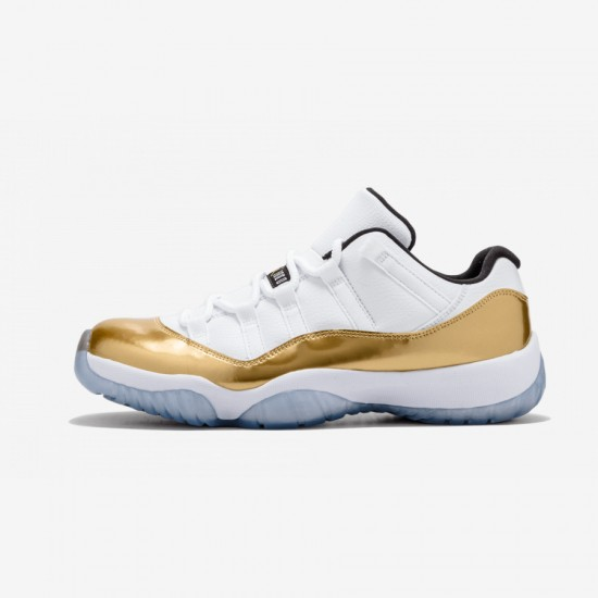 """Air Jordan 11 Retro Low """"Closing Ceremony"""" 528895 103 Gold Patent Leather And Rubber White/Mtlc Gold Coin-Black Basketball Shoes"""