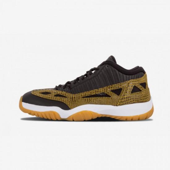 "Air Jordan 11 Retro Low ""Croc"" 306008 013 Beige Leather Blk Mlt Grn-Gm Yllw-Infrrd 23 Basketball Shoes"