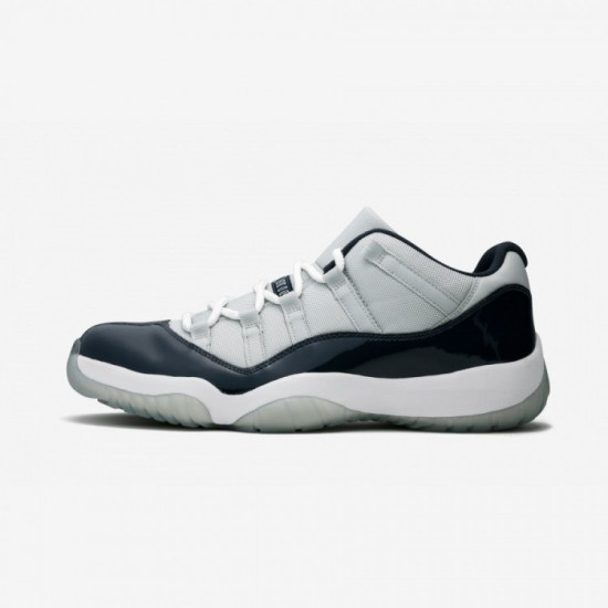 """Air Jordan 11 Retro Low """"Georgetown"""" 528895 007 Navy Patent Leather And Rubber Grey Mist/White-Midnight Navy Basketball Shoes"""