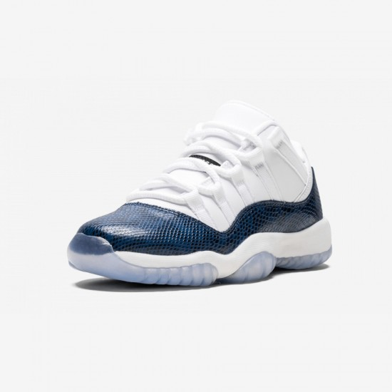 "Air Jordan 11 Retro Low LE GS ""Bluee Snakeskin"" CD6847 102 Navy Whiite / Black-Navy Basketball Shoes"