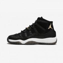 "Air Jordan 11 Retro Prem HC ""Heiress Black Stingray"" 852625 030 Black Patent Leather And Rubber Black/Metallic Gold-White Basketball Shoes"