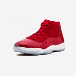 """Air Jordan 11 Retro """"Win Like 96"""" 378037 623 Red Patent Leather And Synthetics Gym Red/Black-White Basketball Shoes"""