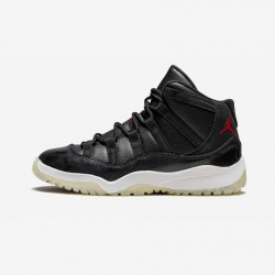 """Jordan 11 Retro BP """"72-10"""" 378039 002 Black Leather And Patent Leather Black/Gym Red-White-Anthracite Basketball Shoes"""