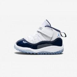 "Jordan 11 Retro BT ""Win Like 82"" 378040 123 Light Blue White / University Blue Basketball Shoes"
