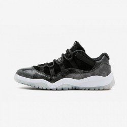 """Jordan 11 Retro Low BP """"Barons"""" 505835 010 Black Patent Leather And Suede Black/White-Metallic Silver Basketball Shoes"""