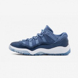"""Jordan 11 Retro Low GP """"Bluee Moon"""" 580522 408 Navy Leather And Suede And Synthetics Blue Moon/Polarized Blue Basketball Shoes"""