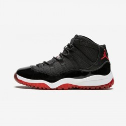 """Jordan 11 Retro (PS) """"Bred"""" 378039 010 Black Leather And Patent Leather And Synthetics Black/Varsity Red-White Basketball Shoes"""