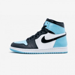 "Air Jordan 1 Womens High OG ""UNC Patent Leather"" CD0461 401 Black Obsidian/Blue Chill-White Basketball Shoes"
