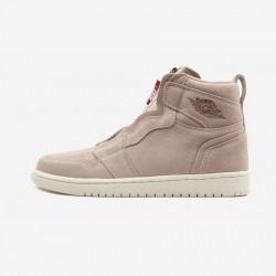 Air Jordan 1 Womens High ZIP AQ3742 205 Pink Particle Beige/Mtlc Red Bronze Basketball Shoes