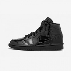"Air Jordan 1 Womens Mid ""Black Patent Leather"" BQ6472 002 Black Black/Black-Black Basketball Shoes"