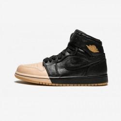 Air Jordan 1 Womens Retro High P AH7389 007 Black Black/Metallic Gold Basketball Shoes