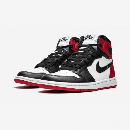 """Air Jordan 1 Womens High OG """"Satin Black Toe"""" CD0461 016 Black Black/Black-White-Varsity Red Basketball Shoes"""